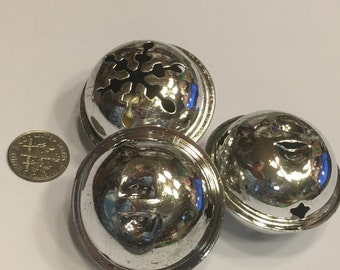 3 large silver color jingle bells ornaments, 40 mm (AA1)