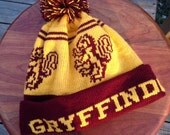 Wizard Cuff Pom Beanie Hat: Yellow and Burgundy, Lion, Medium