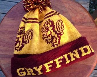 Wizard Cuff Pom Beanie Hat: Yellow and Burgundy, Lion, Medium