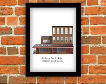Baltimore (Maryland) Print - Mother's Grille, Federal Hill