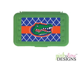 Florida Gators Themed Pencil Box, Design Your Own, Art Supply Box, Crayon Box, Back to School, Sports Team, Florida, Gators