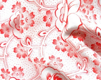 red vintage floral fabric patchwork fabric quilting or pillowcases antique fabric  red flowers french fabric 68