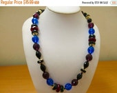 ON SALE Vintage Multicolored Facetted Glass Beaded Necklace Item K # 1368