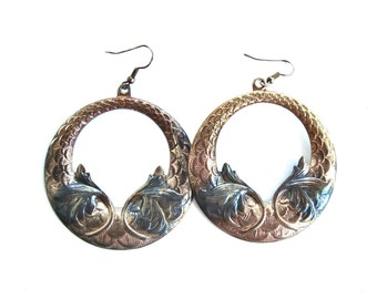 Large Gawdy Embossed Colored Metal Gypsy Bohemian Costume Hoop pierced earrings