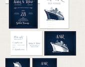 Cruise Ship Wedding Invitation RSVP Info Card Destination illustrated wedding invitation sealing sea nautical wedding navy blue wedding