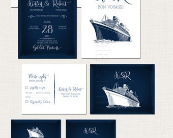 Cruise Ship Wedding Invitation RSVP Info Card Set Destination wedding invitation sealing sea nautical wedding navy blue wedding invites