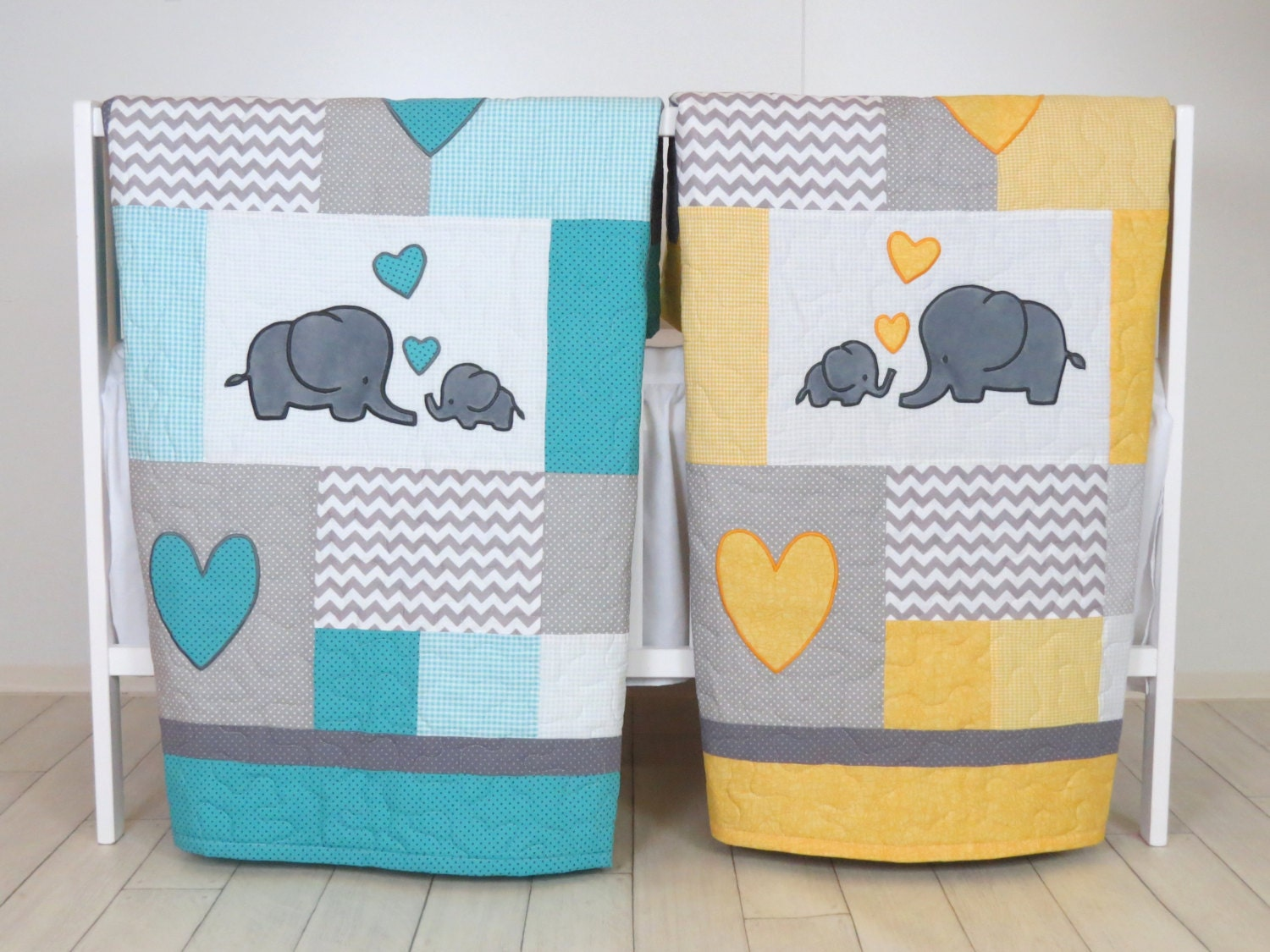 Twin Baby Quilts Elephant Crib Bedding Turquoise Blue