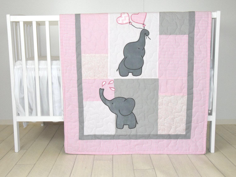 Baby Girl Quilt Elephant Blanket Pink Gray Crib Bedding