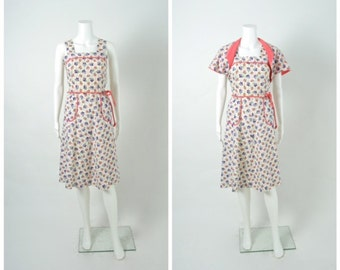 Vintage 1930s 30s 1940s 40s Floral Cotton Dress with Bolero Jacket Set