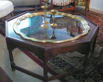 Mid-Century Collectors Edition By Baker Furniture Coffee Table With Brass And Glass Insert Vintage Cocktail table Local Pick Up Only