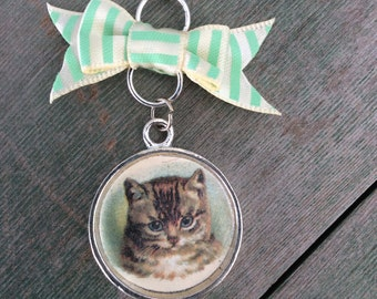 Sweet Tabby Cat Necklace/Victorian Necklace/Edwardian Necklace/Cat Necklace