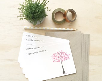 Notecard Pack - Pink Cherry Blossom Tree - Set of 5 Notecards and Envelopes - NOT027