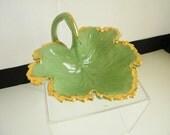 Vintage Green Leaf Ceramic Dish Gold Trim