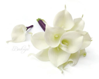 CHOOSE RIBBON COLOR - White Calla Lily Bouquet and Boutonniere, Real Touch White Calla Lily Bouquet and Boutonniere, Calla Lily Bouquet