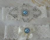 Bridal Garter Set - Wedding Garter - Something  Blue Garter-Ivory Garter Set