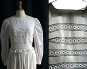 White shirt, long sleeves, broderie anglaise, Vintage 1970's, Small