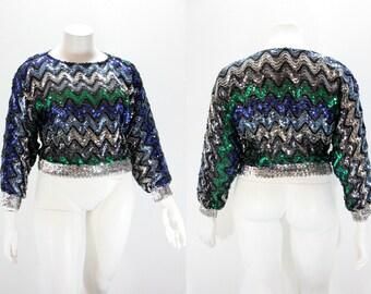 Large - XL Sequins Blouse - 1980s Sequin Chevron Pullover Top