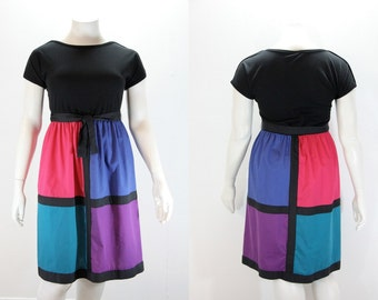Large 1980s Dress - Large Color Block Dress