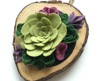 Felt Succulent Wood Cut Wall Art - Felt Succulent - Round Wood Cut - Home Decor - Gallery Wall - Felt Flower - Floral -