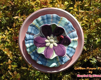 Yard Art for an Outdoor Garden Flowers and Ladybug Glass Flower