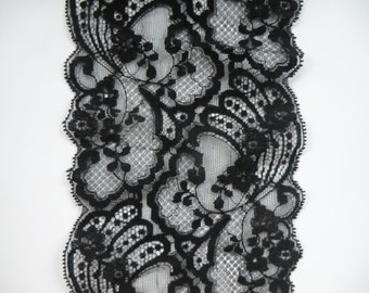 SALE Vintage, wide  black nylon/rayon  lace trim, 5.5 inch two yards