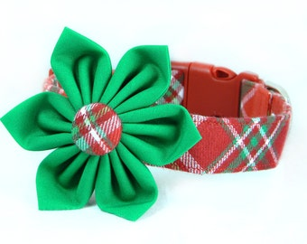 Christmas Flower Dog Collar; Red and Green Plaid Dog Collar and Flower: Christmas Flannel