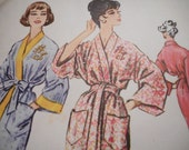 Vintage 1950's McCall's 2327 Kimono with Monogram Transfer Sewing Pattern, Size Small 10-12, Bust 31-32