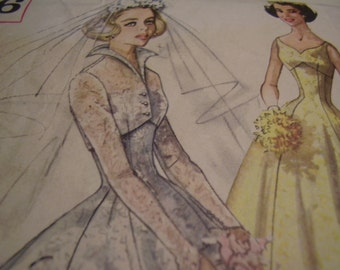 Vintage 1950's Simplicity 2066 Brides, Bridesmaids and Evening Dress and Jacket Sewing Pattern, Size 12, Bust 32