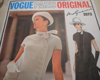 Vintage 1960's Vogue 2073 Paris Original Molyneux Dress Sewing Pattern Size 12 Bust 34