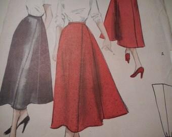 Vintage 1950's Butterick 5214 Rudder Skirt Sewing Pattern, Waist 26
