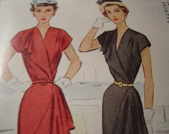 Vintage 1940's McCall 7536 Wrap-Around Dress Sewing Pattern, Size 16, Bust 34