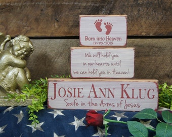 Baby Memorial Block Set name date born into heaven footprints Safe in the Arms of Jesus We will hold you in Our Hearts until we can hold..