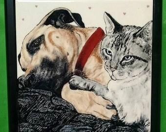 "2 Cat Portrait Tile-8""-framed"