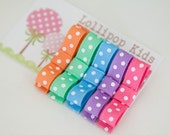 5 Piece Mixed Pastels Polka Dots Hair Clips Set Light Pink Lavender Light Blue Light Orange Mint