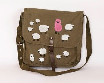Vintage Upcycled Hand Painted Military Bag With White and Pink Sheep, Army Green Cotton Canvas Messenger Bag