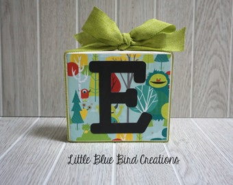 Wood letter - Wood sign -name initial - monster - little boy - room decor - wood block -personalized