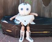 "OOAK Art Doll  Halloween  White Ghost"" PUMPKIN HEAD"" Hand sculpt  polymer  By Connie"