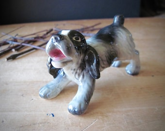 Vintage Goebel Dog, Vintage Dog Figurine, Springer Spaniel Figurine, West German Dog, Dog Figurine, Goebel Figurine, Black and White Dog