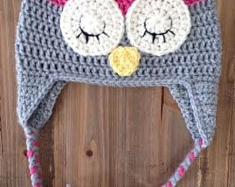Pink and Gray Owl Hat, Toddler Girl Owl Hat, Baby Girl Owl Hat