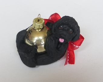 Black Labradoodle Goldendoodle Dog Christmas Ornament Polymer Clay
