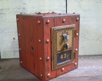 Post office Box - Piggy Bank - Chester Mannly - Red Over Vintage Wood with Brass Door - Rustic Handmade Furniture - Old Country General