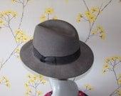 40s 50s Style Mens Fedora Hat Grey Felt Hat Black Band  Size 61 or 71/2 Larger Size Mens Hat fits 23.5