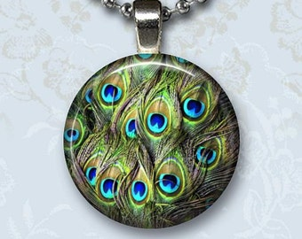 Peacock Feathers Photo Charm Pendant, Bird Glass Dome Jewelry, Silver Chain Necklace