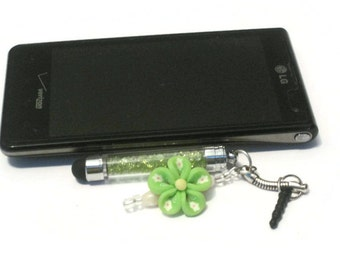 Green Crystal Mini Stylus Charm, Floral Clay Beaded Cell Phone Charm, Stylus Beaded Charm, Cell Phone Dust Plug, Tablet Stylus