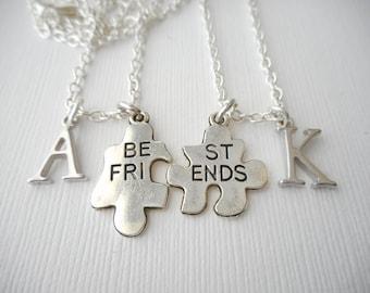 2 Best Friends Puzzle Piece- Initial Best Friend Necklaces (Set)