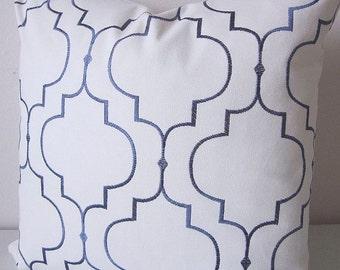 Decorative Pillow Cover Moroccan Tile Embroidered Pillow Slate Blue White Quatrefoil Ethnic Boho Bohemian Home Decor Cushion Cover