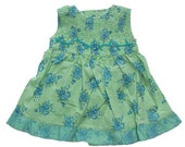 Baby girl's gypsy dress, pretty children's boho clothing. Kid's floral green & jade blue bohemian summer dress