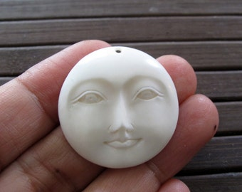 Best Quality 30mm  Moon Face open eyes cabochon, Organic Cabochon,  bone, DRILLED, Embellishment, Jewelry making SUpplies B3864