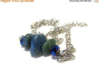 ON SALE Triple Leland Bluestone Necklace, 21 Inch Silver Tone Link Chain, Blue Faceted Crystal Beads, BLUESCAPE Sparkle
