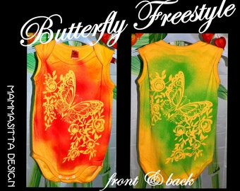 "Onesie for babygirl, size 12-18ms  : ""Butterfly Freestyle""-Sprayprint"